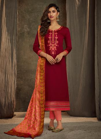 Red Jam Silk Casual Wear Embroidery Work Straight Suit
