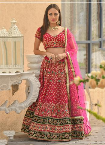 Rani Velvet Traditional Wear Resham Work Lehenga Choli