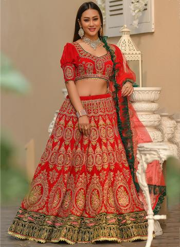 Red Velvet Traditional Wear Resham Work Lehenga Choli