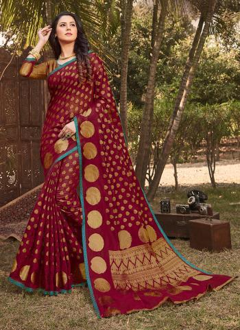 Red Silk Festival Wear Weaving Saree
