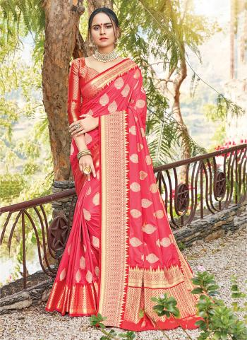 Pink Silk Traditional Wear Weaving Saree