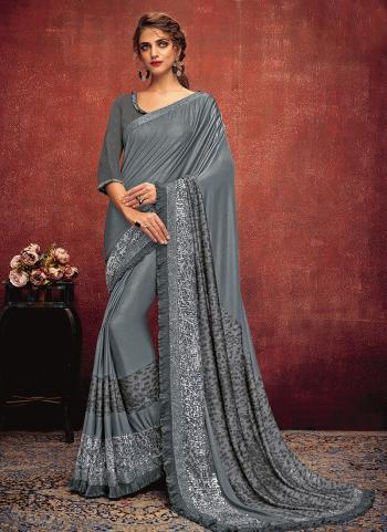 Grey Lycra Reception Wear Sequins Work Saree