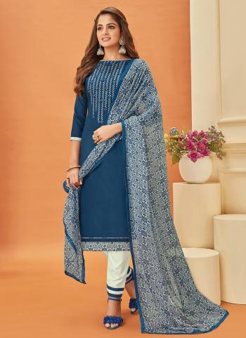 Blue Cotton Daily Wear Embroidery Work Churidar Suit