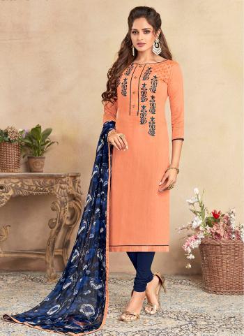 Peach Chanderi Cotton Regular Wear Embroidery Work Churidar Suit