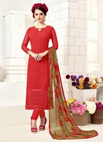 Red Georgette Casual Wear Embroidery Work Churidar Suit