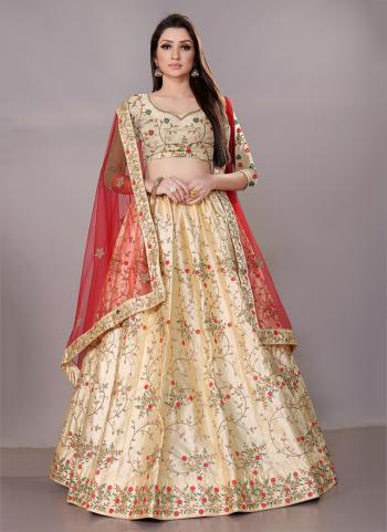 Beige Satin Silk Festival Wear Zari Work Lehenga Choli