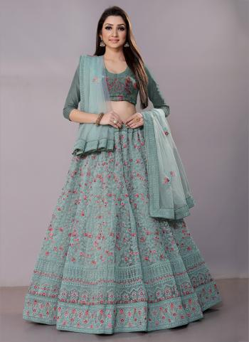Blue Net Festival Wear Zari Work Lehenga Choli