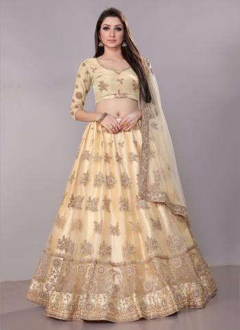 Cream Net Festival Wear Zari Work Lehenga Choli