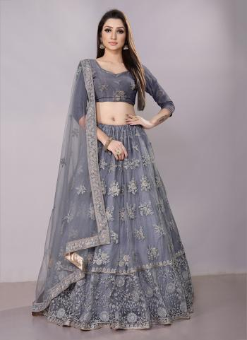 Grey Net Festival Wear Zari Work Lehenga Choli