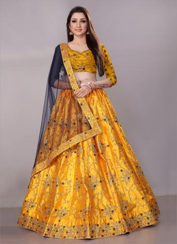 Mustard Satin Silk Festival Wear Zari Work Lehenga Choli
