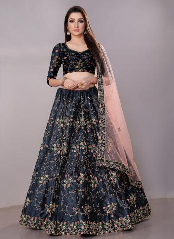 Navy Blue Satin Silk Festival Wear Zari Work Lehenga Choli