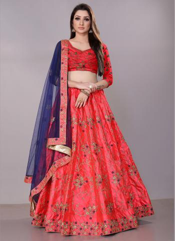 Pink Satin Silk Festival Wear Zari Work Lehenga Choli