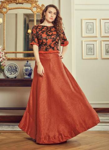Orange Silk Party Wear Printed Work Top With Skirt