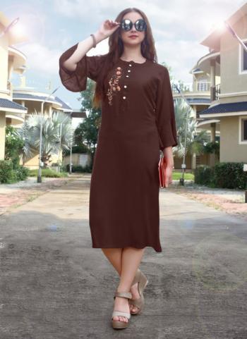 Brown Rayon Regular Wear Hand Work Kurti