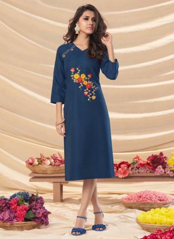 Blue Rayon Office Wear Embroidery Work Kurti