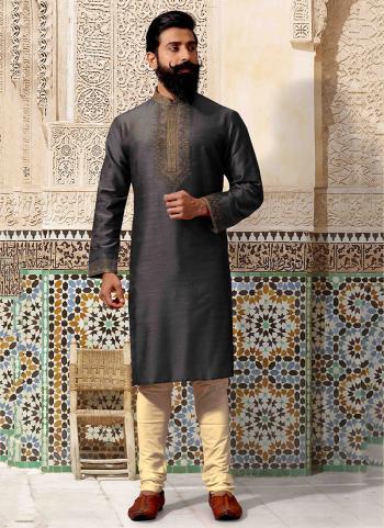 Black Silk Festival Wear Embroidery Work Kurta Pajama