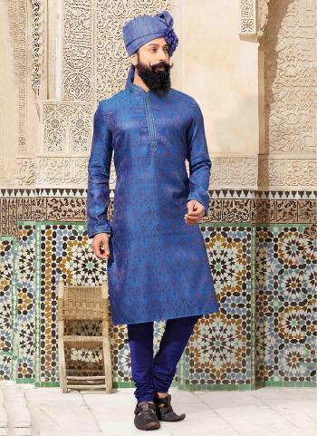 Blue Jacquard Festival Wear Weaving Kurta Pajama