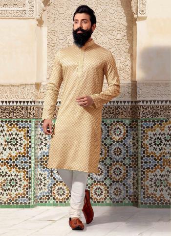 Cream Jacquard Festival Wear Weaving Kurta Pajama