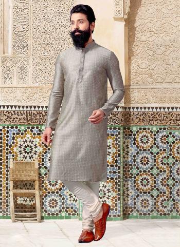 Grey Jacquard Festival Wear Weaving Kurta Pajama