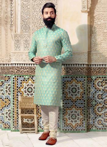 Light Green Jacquard Festival Wear Weaving Kurta Pajama