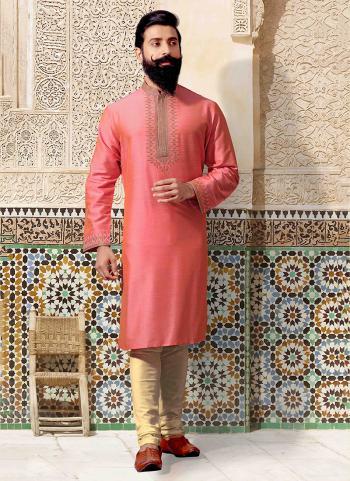 Light Pink Silk Festival Wear Embroidery Work Kurta Pajama