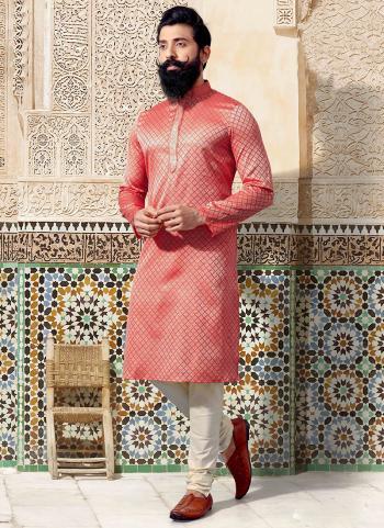 Pink Jacquard Festival Wear Weaving Kurta Pajama