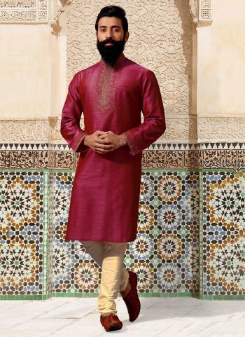 Rani Silk Festival Wear Embroidery Work Kurta Pajama