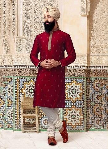Silk Red Festival Wear Embroidery Work Kurta Pajama
