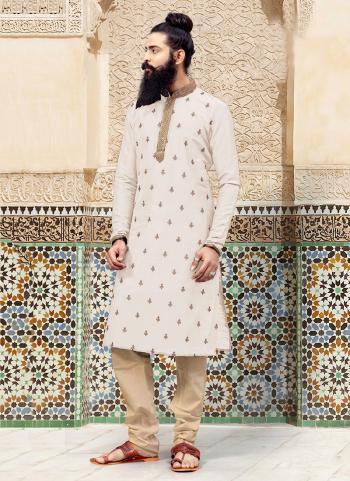 White Silk Festival Wear Weaving Kurta Pajama