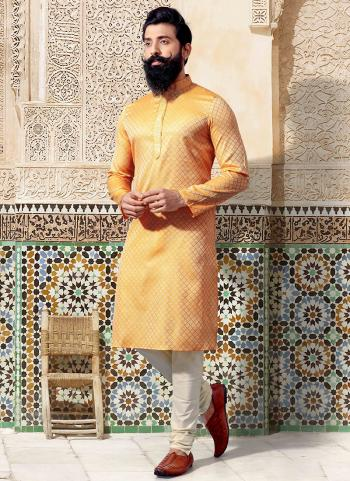 Yellow Jacquard Festival Wear Weaving Kurta Pajama