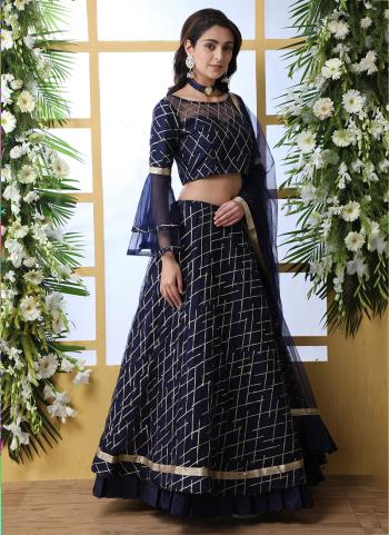 Navy Blue Net Traditional Wear Sequins Work Lehenga Choli