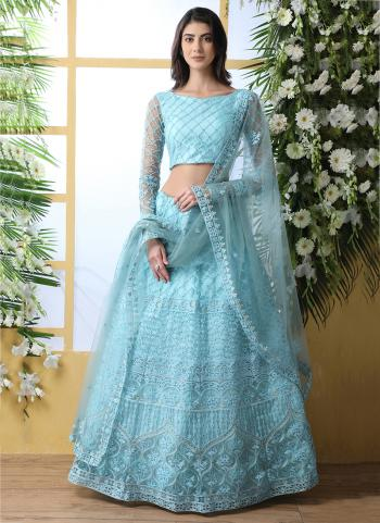 Sky Blue Net Traditional Wear Thread Work Lehenga Choli