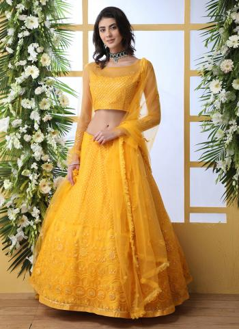 Yellow Net Traditional Wear Thread Work Lehenga Choli