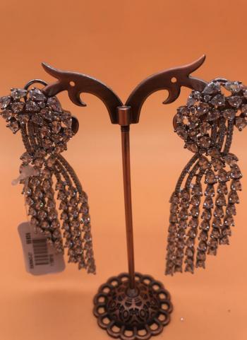 White Diamond Earring Set For Evening