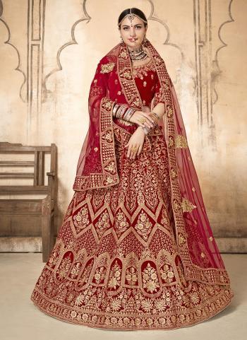 Red Zari Work Velvet Bridal Wear Lehenga Choli