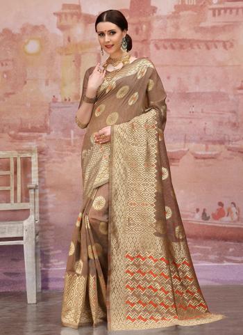 Brown Cotton Silk Festival Wear Zari Work Saree