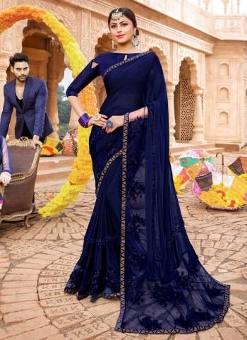 Navy Blue Lycra Party Wear Embroidery Work Saree