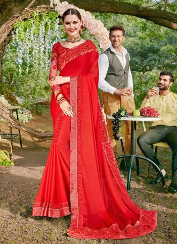Red Lycra Festival Wear Embroidery Work Saree
