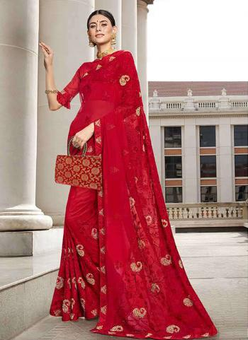 Red Georgette Traditional Wear Embroidery Work Saree