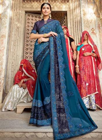 Blue Rangoli Traditional Wear Embroidery Work Saree