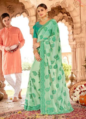 Pista Green Georgette Party Wear Heavy Embroidery Work Saree