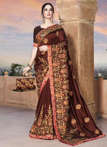 Brown Rangoli Wedding Wear Embroidery Work Saree