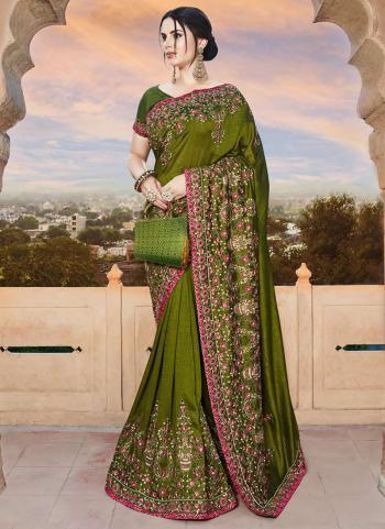 Green Rangoli Wedding Wear Embroidery Work Saree