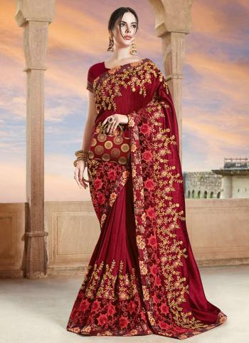 Maroon Rangoli Wedding Wear Embroidery Work Saree