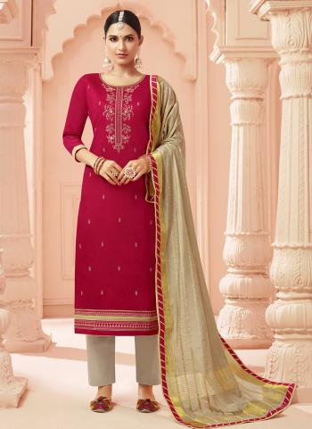 Red Cotton Silk Casual Wear Embroidery Work Straight Suit