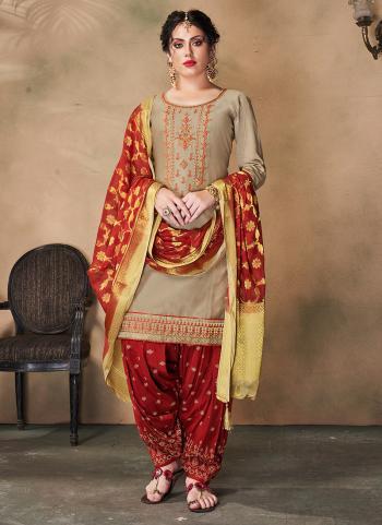 Beige Cotton Silk Traditional Wear Khatli Work Readymade Patiala Suit