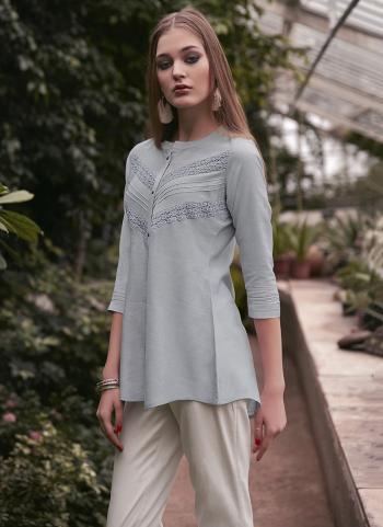 Grey Rayon Daily Wear Schiffli Work Top