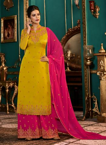 Yellow Georgette Satin Festival Wear Embroidery Work Palazzo Suit