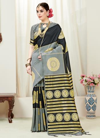 Black And Grey Silk Party Wear Weaving Saree