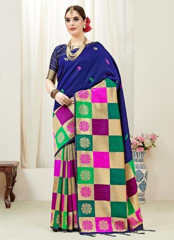 Blue Silk Party Wear Weaving Saree